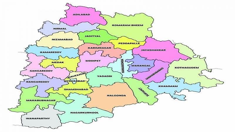 Telangana map redrawn adding 21 new districts