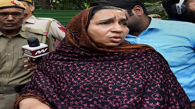 New Delhi: Missing JNU student Najeeb's mother coming out after meeting Home Minister Rajnath Singh at his residence in New Delhi on Tuesday. PTI Photo by Kamal Singh  (PTI11_8_2016_000068B)