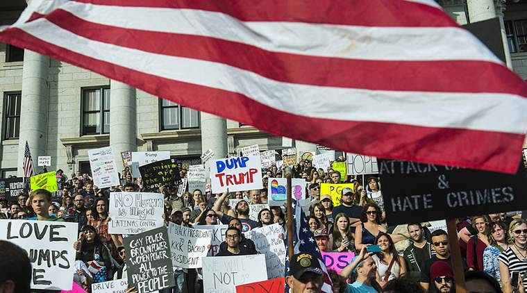Hundreds of New York students protest outside Trump Tower