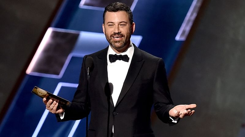 Jimmy Kimmel chokes up while speaking about Las Vegas shootings