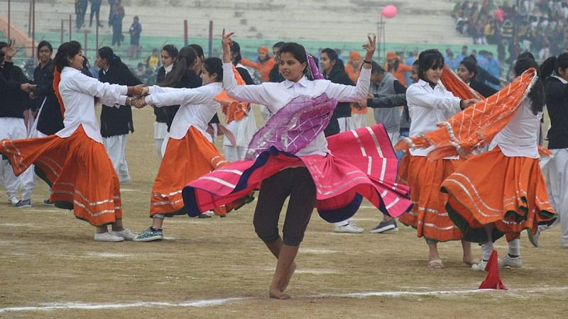 Jammu: School children perfrom during a rehearsal for the Republic Day parade in Jammu on Tuesday. PTI Photo