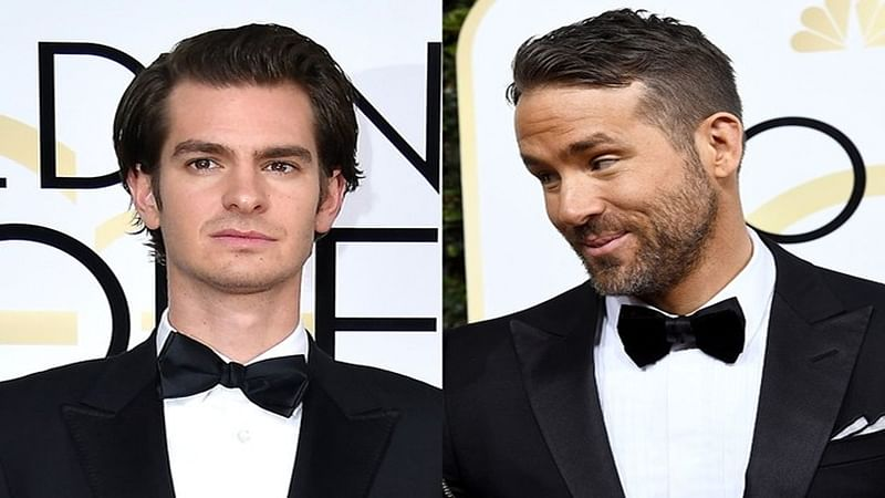 Andrew Garfield and Ryan Reynolds share a kiss at Golden Globes