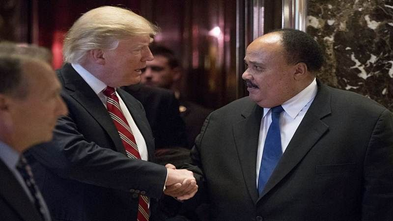 Donald Trump meets Martin Luther King Jr's son