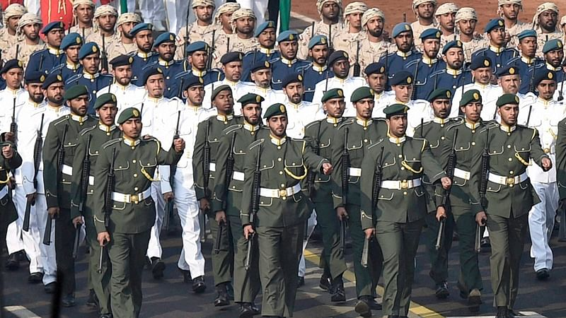New Delhi: UAE contingent march past during the full dress rehearsal for the Republic Day parade, at Rajpath in New Delhi on Monday. PTI Photo by Kamal Singh