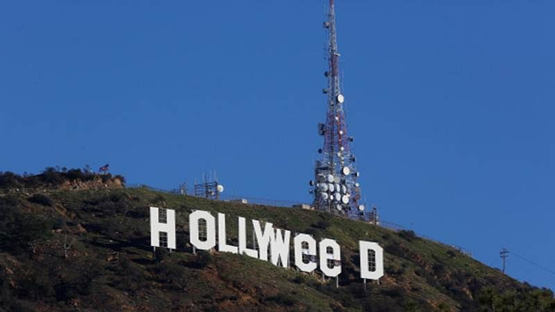 "Hollywood sign vandalized, reads ""Hollyweed"" now"