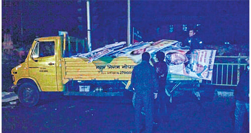 Bhopal Municipal Corporation pulls down hoardings, admin cancels permission
