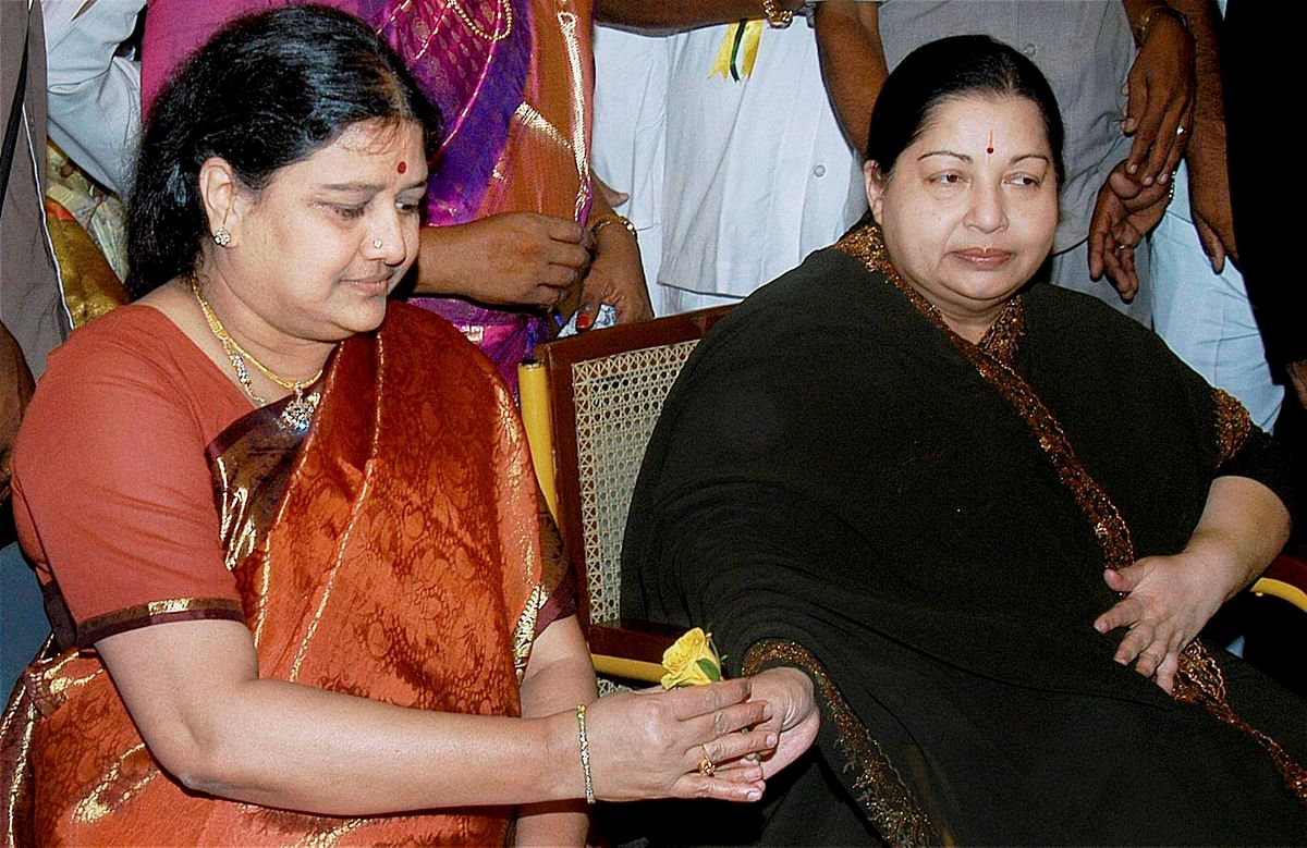 Late AIADMK chief J Jayalalithaa with  her close aide VK Sasikala.