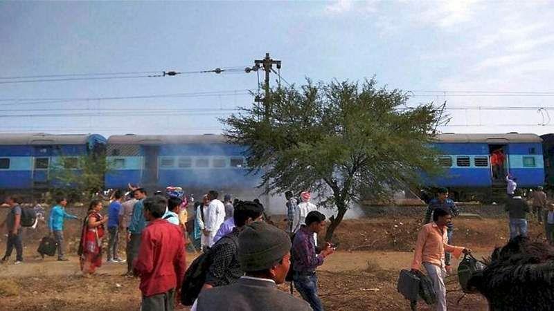 Shajapur: Smoke erupts from a bogie after a blast in the Bhopal-Ujjain passenger train near Jabdi station in Shajapur district in Madhya Pradesh. PTI Photo(PTI3_7_2017_000026B)