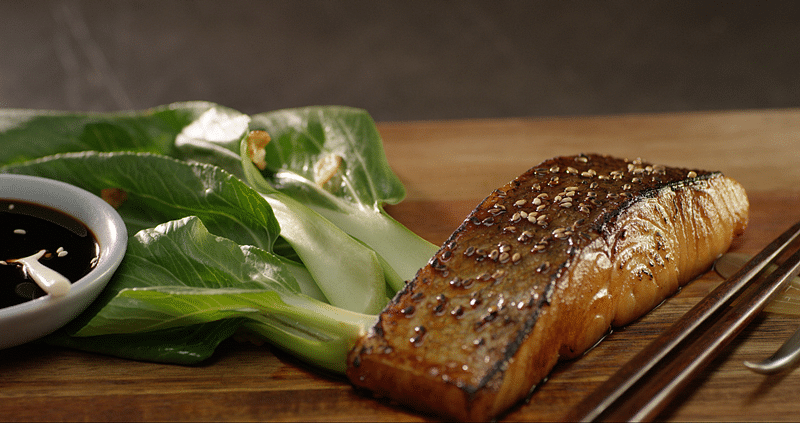 Teriyaki salmon bok choy, crisp garlic and sesame