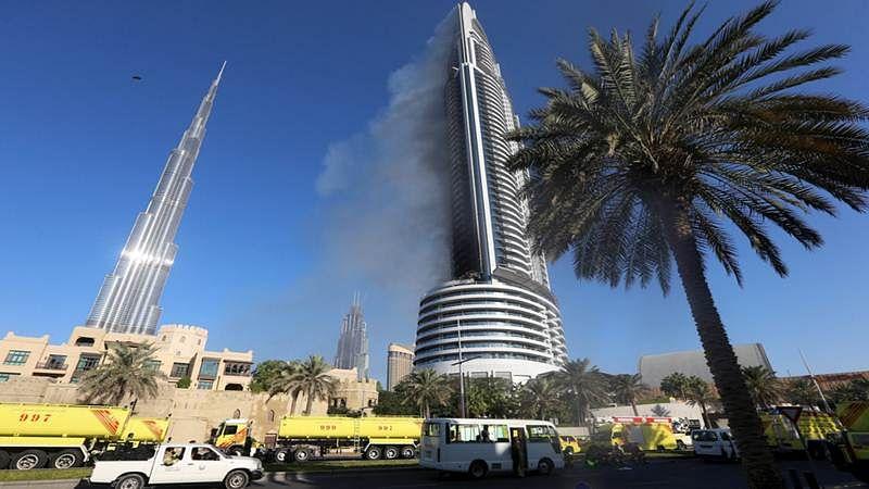Fire hits Dubai high-rise tower near Burj Khalifa