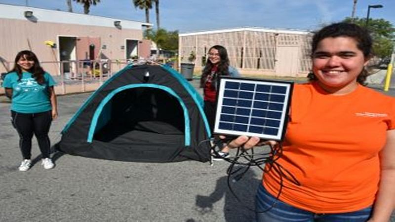 Camping tent with solar electricity in the offing