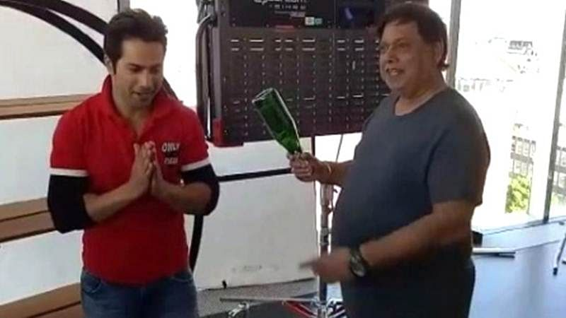 Watch: David Dhawan smashes a bottle on Varun's head on Judwaa 2 set