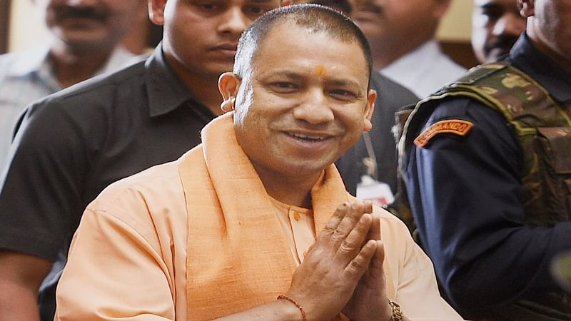 Yogi Adityanath in Ayodhya, a day after BJP leaders charged in Babri Masjid case