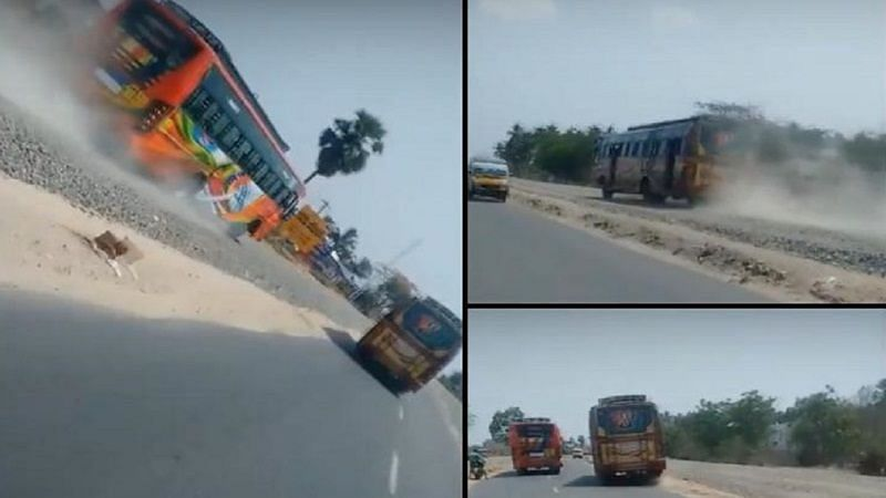 This viral video of bus racing on highway in Tamil Nadu is insane
