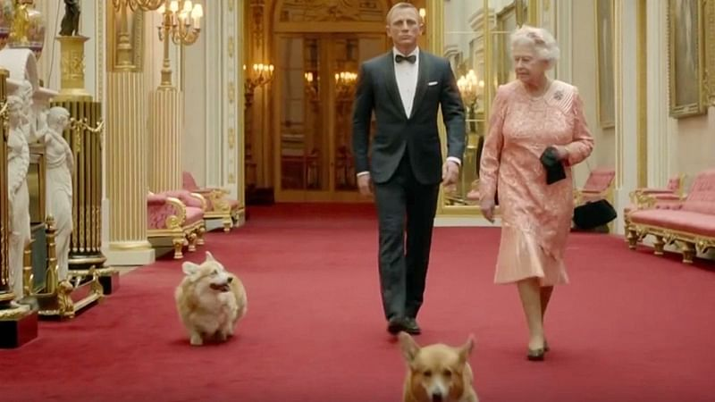 Queen Elizabeth and her many corgis