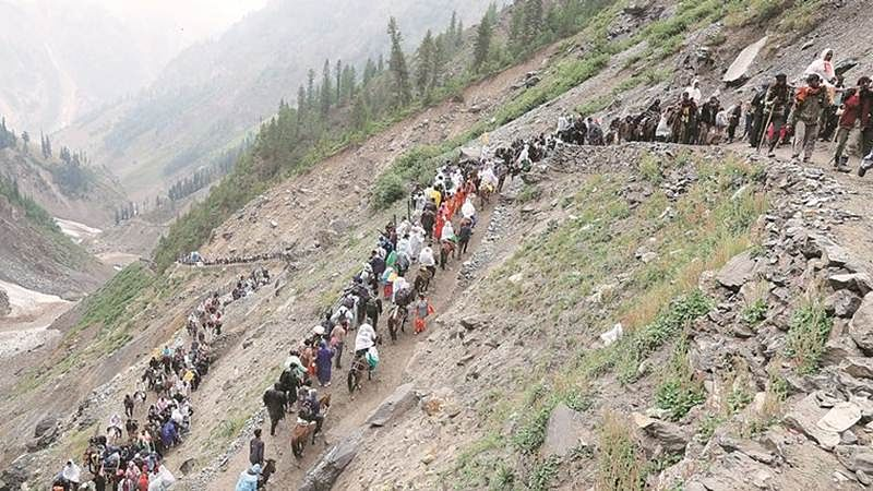 Amarnath yatra resumes from twin routes after weather improves