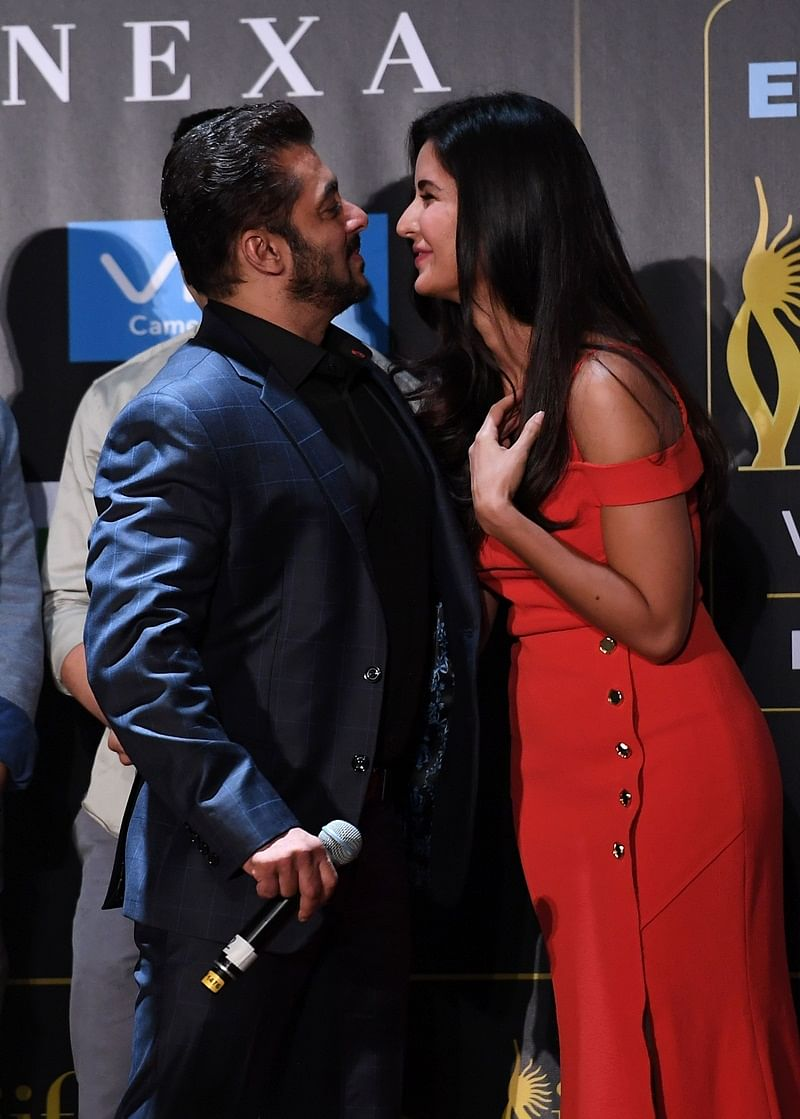 Bollywood actor Salman Khan greets actress Katrina Kaif during a press conference ahead of the 18th International Indian Film Academy (IIFA) Festival, in New York City July 13, 2017. / AFP PHOTO / ANGELA WEISS