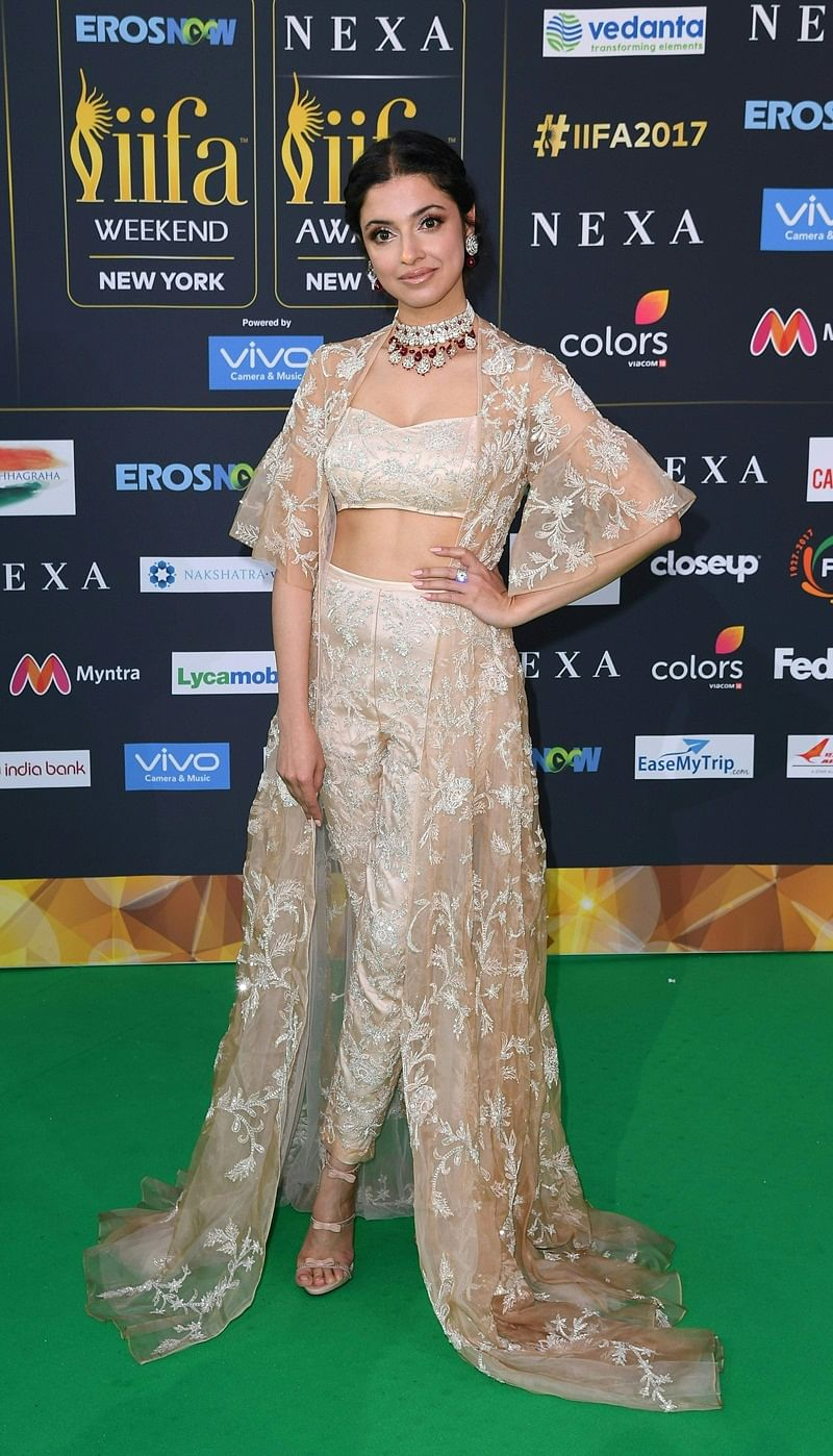 Bollywood actress Ivya Khosla Kumararrive arrives for the IIFA Awards July 15, 2017 at the MetLife Stadium in East Rutherford, New Jersey during the 18th International Indian Film Academy (IIFA) Festival. / AFP PHOTO / Angela WEISS