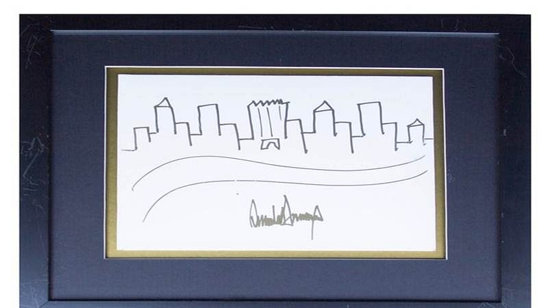 'Very rare' Donald Trump sketch of New York skyline is up for auction for $10,000