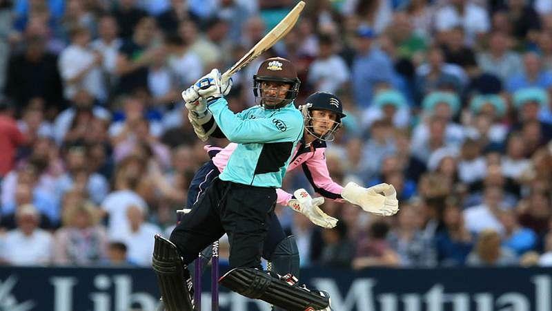 Bizarre: Kumar Sangakkara's six smashes spectator's phone during T20 blast
