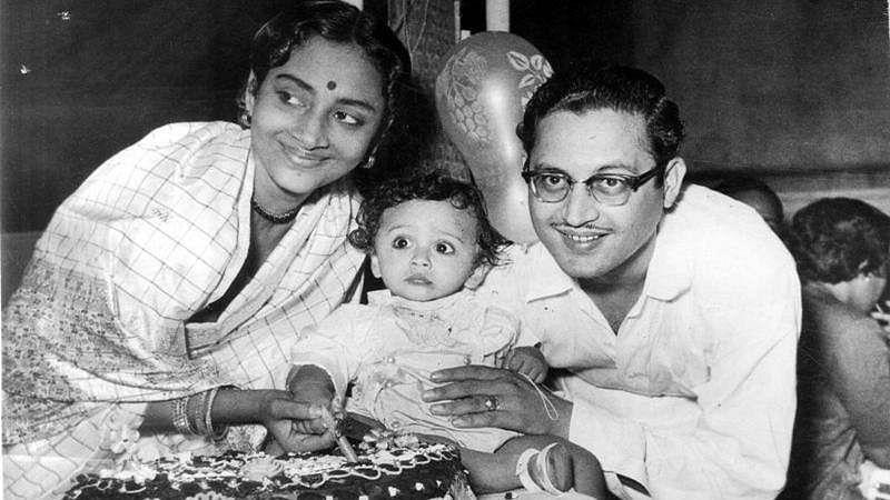 Guru Dutt with wife Geeta and son
