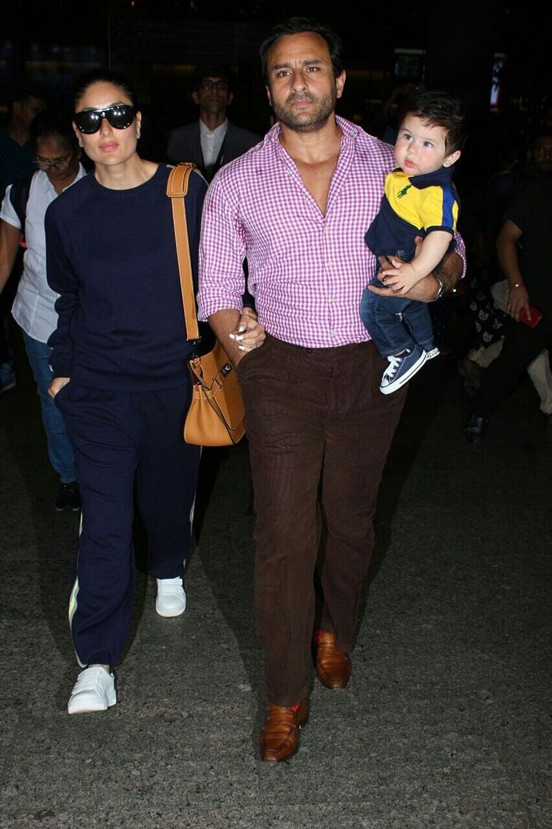 Post Swiss adventure, Saif, Kareena and Taimur back in Mumbai