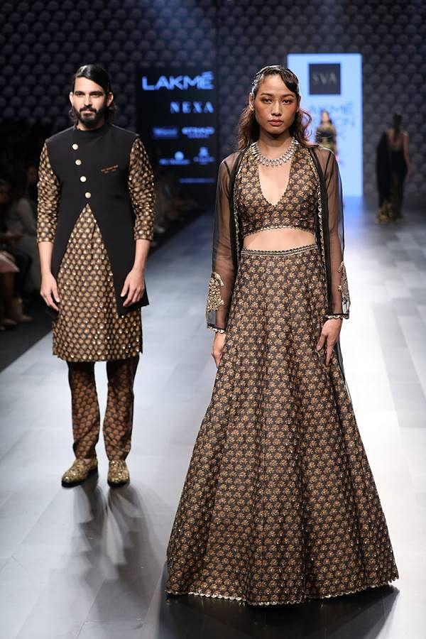 Models walk for SVA by Sonam and Paras Modi at Lakme Fashion Week WF 17