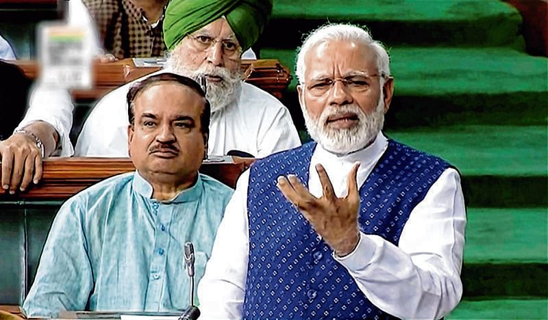 New Delhi: Prime Minister Narendra Modi speaks in the Lok Sabha in New Delhi on Wednesday. PTI Photo / TV GRAB (PTI8_9_2017_000047B)