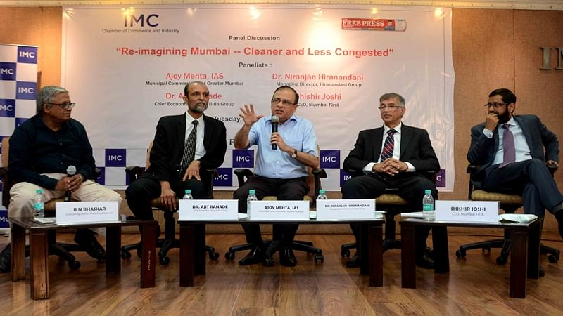 ( L to R) R N Bhaskar, consulting editor, FPJ; Ajit Ranade, chief economist, Aditya Birla Group of companies; Ajoy Mehta, municipal commissioner, MCGM; Niranjan Hiranandani, MD, Hiranandani Group of companies; and Shishir Joshi, CEO, Mumbai First, during the panel discussion. Photo by BL SONI