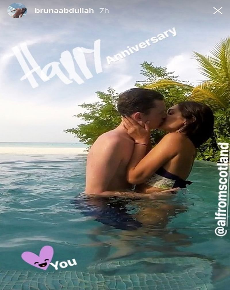 Hot Kiss ! Bruna Abdullah spotted locking lips with her husband passionately in Mauritius