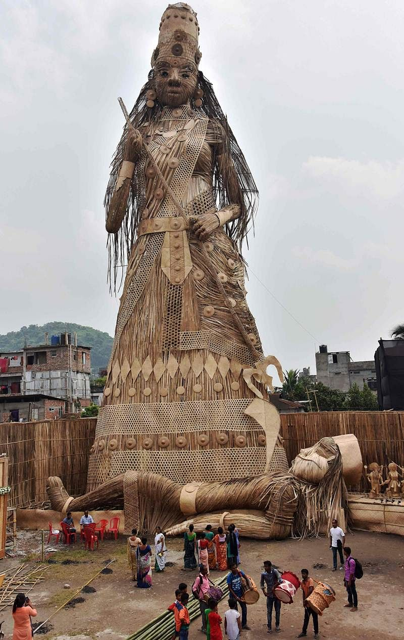 Durga Puja 2017: 100-feet bamboo idol stakes claim for Guinness Book of Records entry