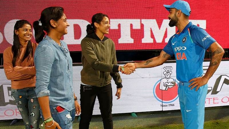 In Pictures: Virat Kohli meets Indian women's cricket stars Harmanpreet Kaur, Smriti Mandhana in Bengaluru