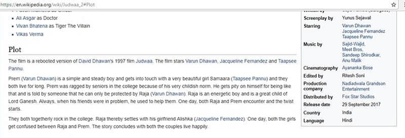 Wikipedia page of 'Judwaa 2' is damn hilarious. Check it out for yourself