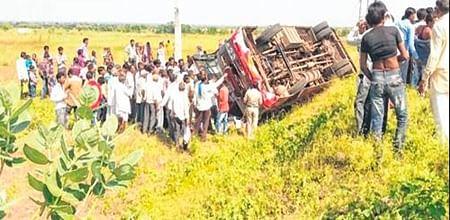 Ujjain: 1 dead, 49 others injured as pvt passenger bus overturns near Mahidpur