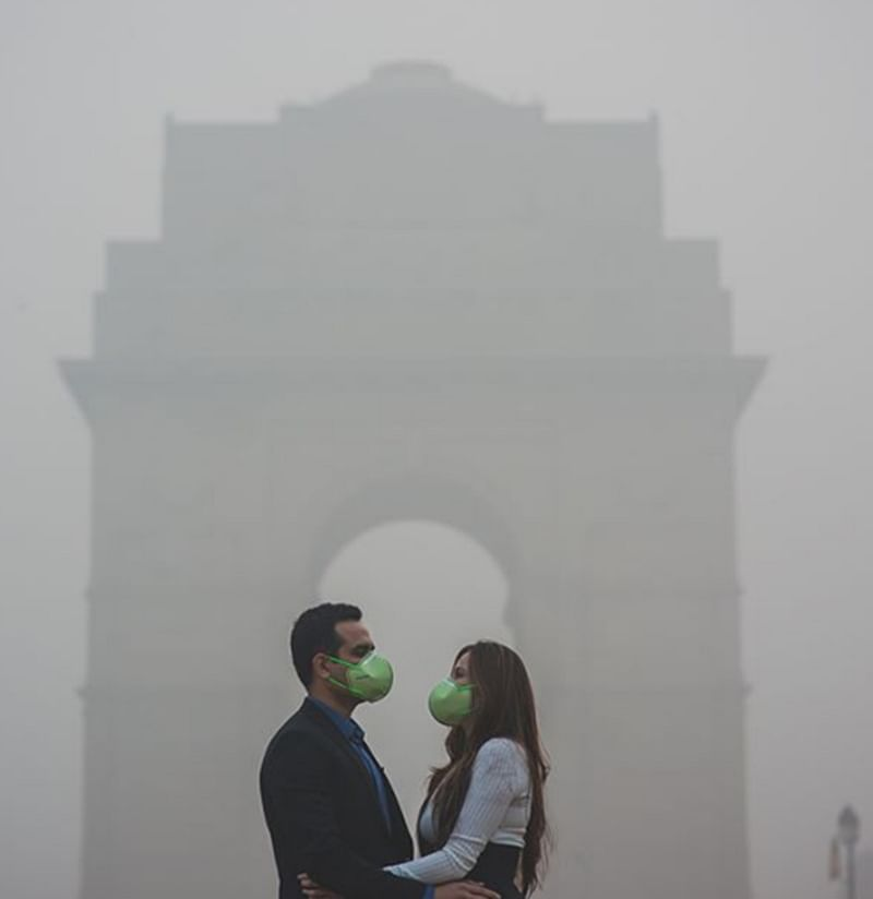 Love is in the smog! This Delhi couple's mask-themed pre-wedding photoshoot is a horrific reality