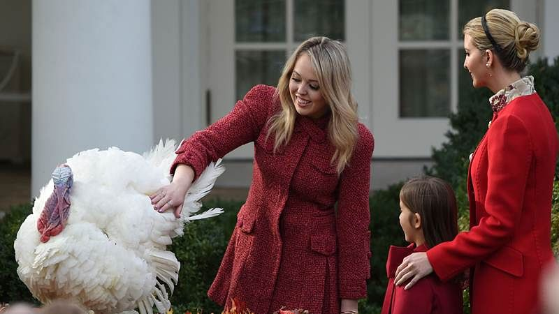 Tiffany Trump (C) pets the turkey, Drumstick, as Ivanka Trump (R) and her daughter Arabella Rose Kushner look on after the turkey pardoning ceremony at the White House in Washington, DC. / AFP PHOTO / ANDREW CABALLERO-REYNOLDS
