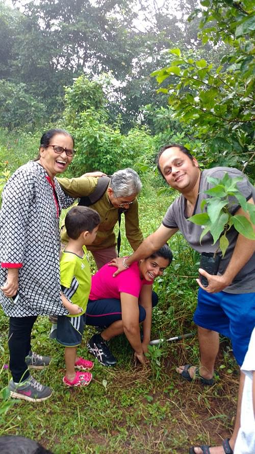 The Athalye family at the Aarey Butterfly Garden