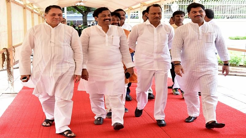 Mumbai ;  NCP leaders Dilip Valse Patil, Sunil Tatkare, Ajit Pawar and Dhananjay Mundhe arrives at Vidhan Bhavan to attend first day of Monsoon session on Monday. Photo by BL SONI