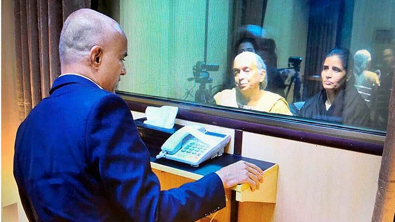 Former Indian Navy officer Kulbhushan Jadhav's wife and mother meet him at the Pakistan Foreign Office .