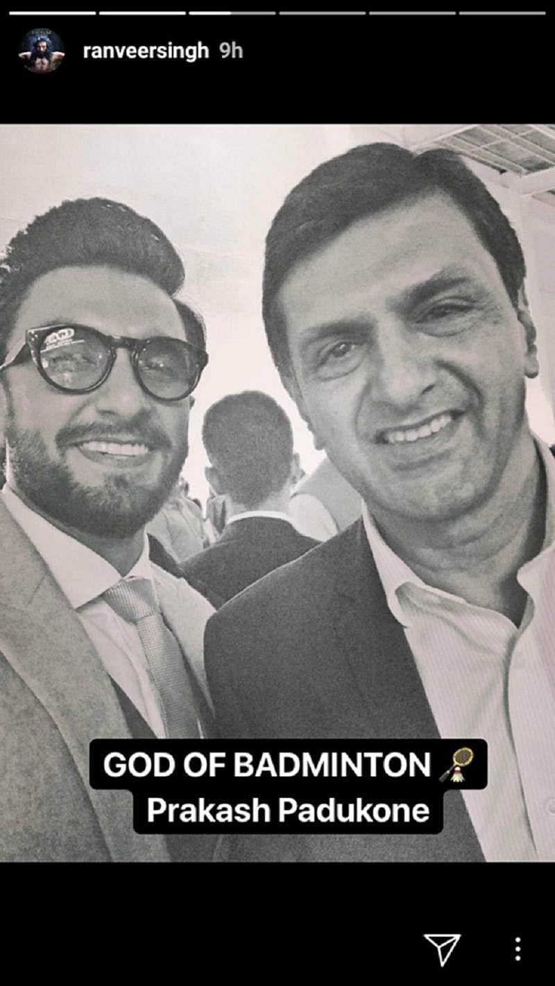 In pictures: Ranveer Singh bonds with Deepika's legendary dad Prakash Padukone in Bengaluru