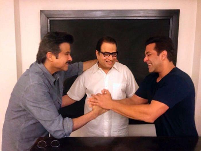 Salman welcomes 'jhakaas' Anil on 'Race 3' sets