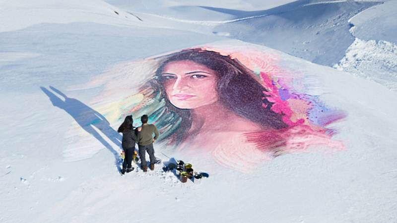 See Photo: 'Tiger' Salman Khan draws portrait of 'Zoya' Katrina Kaif on frozen lake in Austria