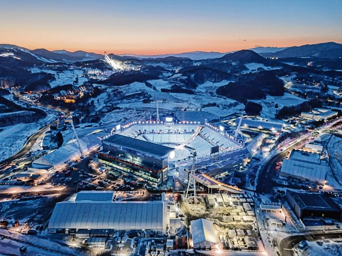 TOPSHOT - A general view shows the venue for the opening and closing ceremonies of the 2018 Pyeongchang winter Olympics, in Pyeongchang on January 23, 2018. / AFP PHOTO / Ed JONES