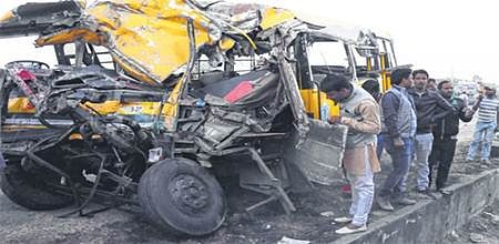 Bhopal: 4 kids, driver dead & 9 HURT as DPS bus collides with truck