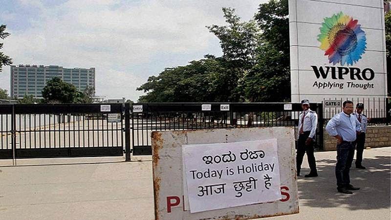 The main office of Wipro remains closed during a Karnataka Bandh in Bengaluru on Friday. PTI Photo