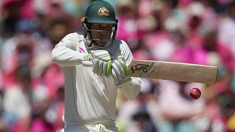 Usman Khawaja pulls a delivery during the third day of their Ashes test in Sydney.AP/PTI