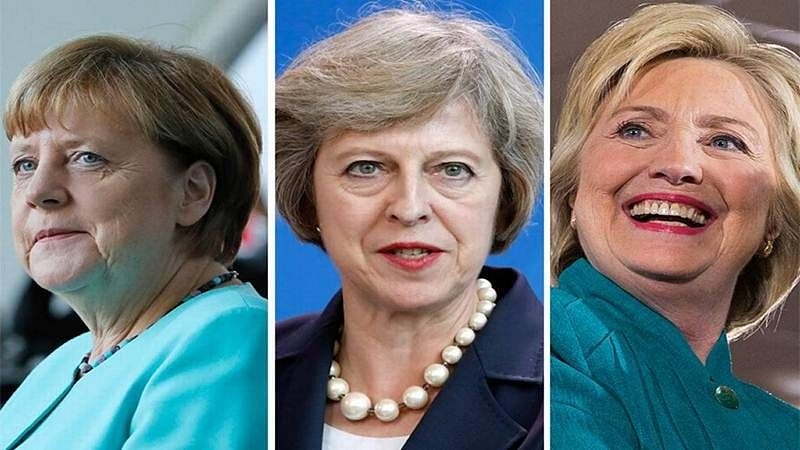 <strong>From (L) to (R): Angela Merkel, Theresa May, Hillary Clinton</strong>