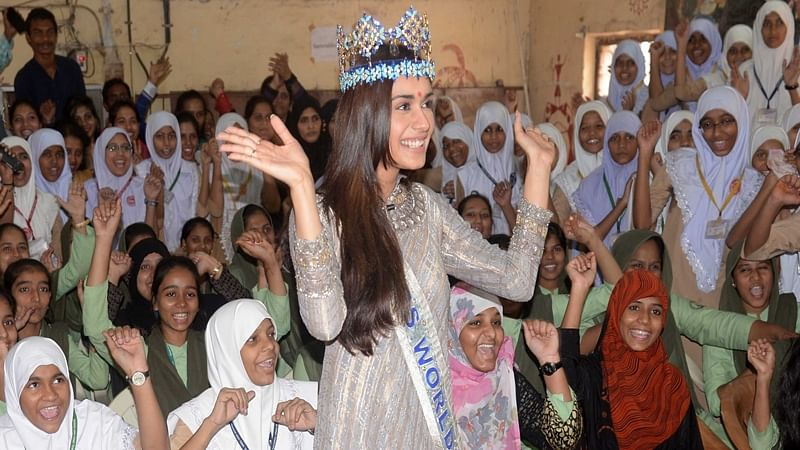 In pictures: Miss World Manushi Chhillar visit Mumbai's Dharavi slum for save girl child event