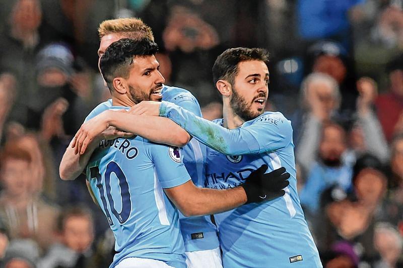 Guardiola hails 'legend' Aguero after four-goal show