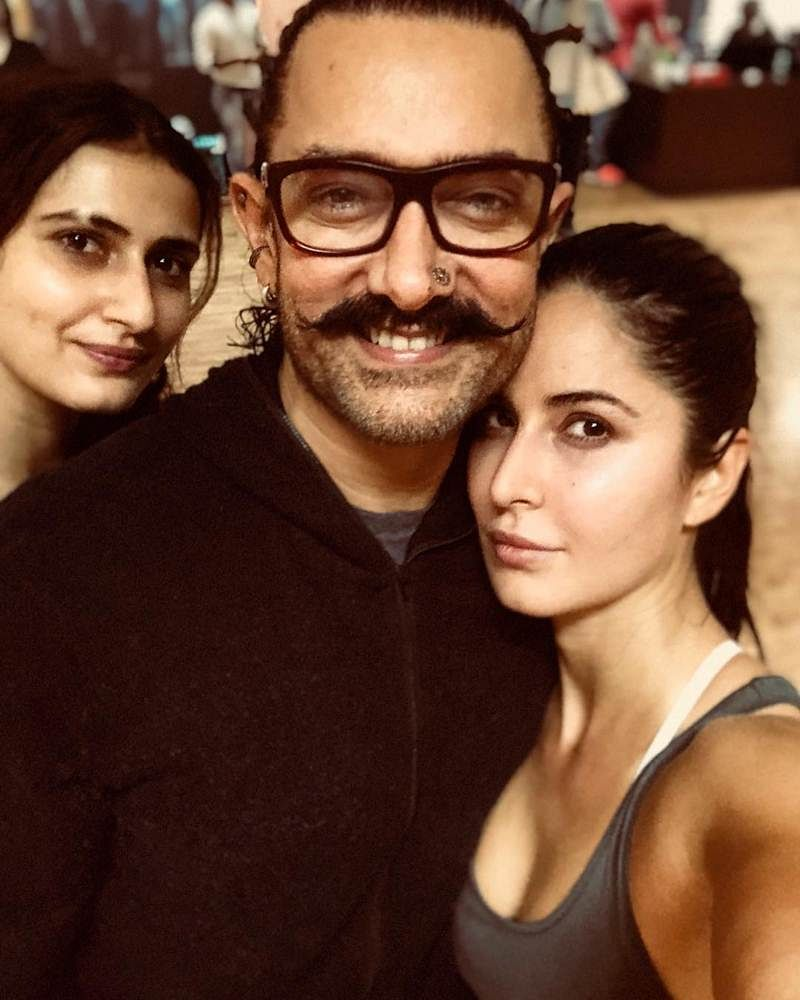 Katrina Kaif clicks a picture on 'Thugs of Hindostan' sets with Aamir Khan and he gets trolled, read why